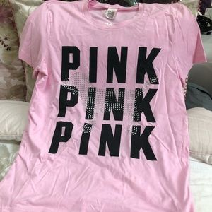 Victoria Secret pink oversized rhinestone dog top